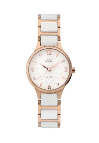 9583608cbab Luxusní dámské hodinky značky JVD steel s bílou keramikou