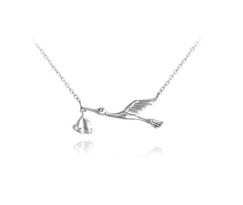 Stříbrný náhrdelník čáp s miminkem JMAN0178SN45
