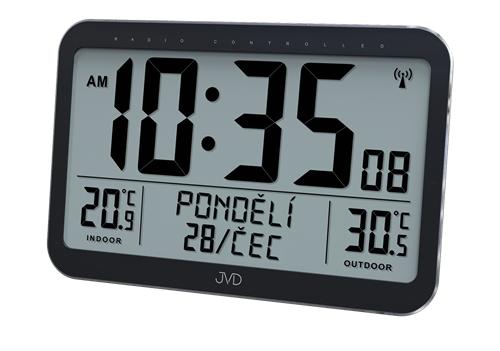 Rádiem řízené digitální hodiny s venkovním teploměrem JVD RB9385 + dárek zdarma