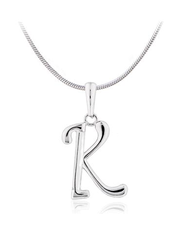 Stříbrný přívěšek písmeno K bez zirkonů SVLP0364XH2000K
