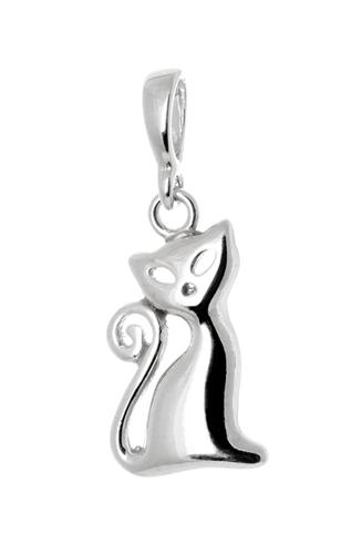 Stříbrný přívěšek kočka STRZ0678F